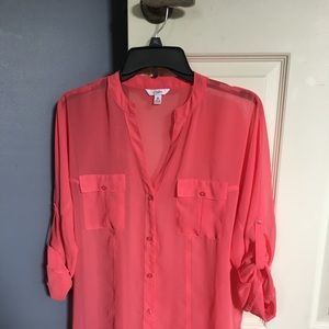 Women's Sheer Coral Colored Buttondown